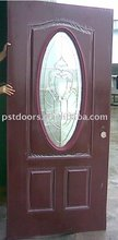 Steel door glass insert entry door