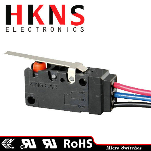 Micro limit switch with lead wires IP67 SPDT UL ENEC