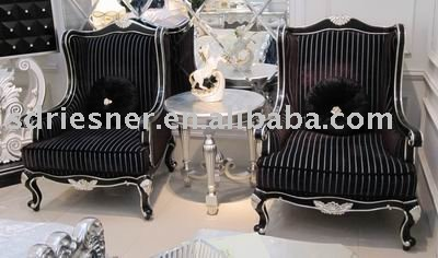 black leisure chair in Neoclassical style N05-055