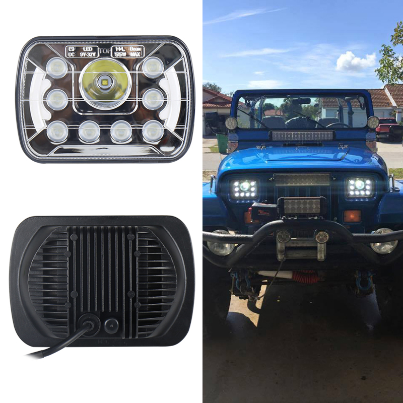 Factory direct sale square 5x7 inch led headlights 55w led working light For Wrangler YJ XJ truck
