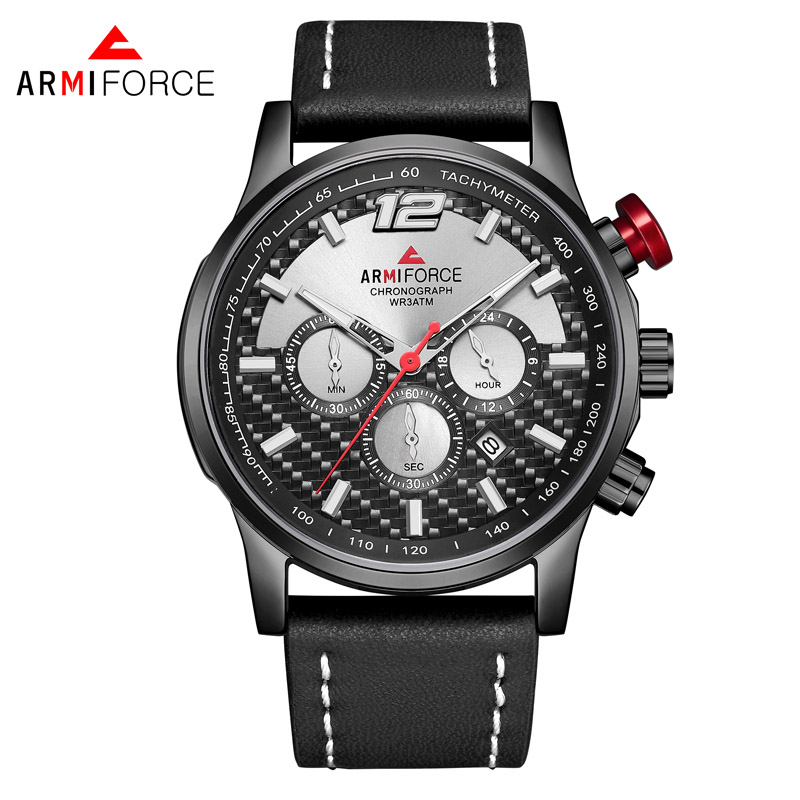 AF8002 ARMIFORCE AF8002 Men's Casual Quartz Leather Watch Luminous Pointer Small Three-Piece Automatic <strong>Date</strong>