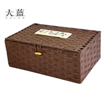 High quanlity colorful handmade paper rope storage basket with lids