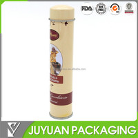 2014 Hot sale cylinder perfume or coffee tin can packaging for one stick of coffee or othe food packaging