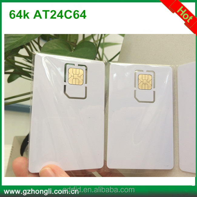 Contact Chip 64k AT24C64 IC Smart Blank PVC SIM Card