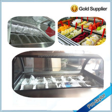 Competitive price curved Glass stainless steel posicle display freezer