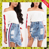 Lastest sexy girls cotton short skirt fashion women distressed denim athletic side stripe a line mini skirts