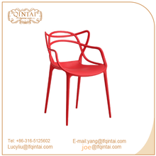 Red high quality good price pp plastic cat ear dining chair cafe chair