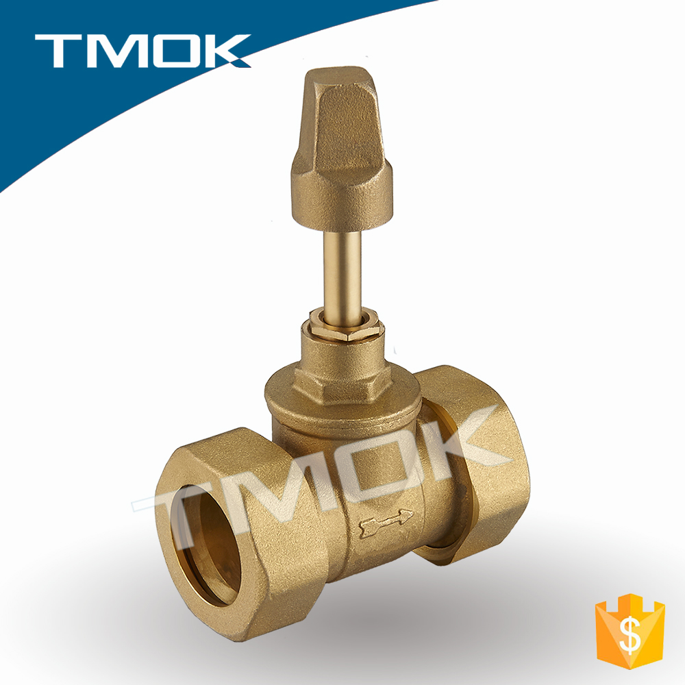brass stem after nature sand blasting and union double bsp/npt female PN 16 with CE approved stop valve in TMOK