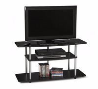 MDF and tempered glass with black lacqer TV stand
