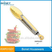 Yellow and silver mix silicone food tong , bonet KWF0102Y silicone food tong