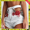 Latest design women high waisted embroidered jean shorts summer hot ripped denim floral shorts