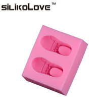 Easy To Demoulding 2 Cavity 3D Shoes Shaped Silicone Molds For Handmade Soap Making