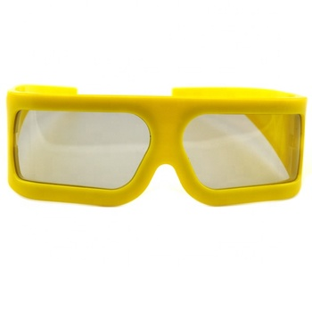 Plastic Big Yellow Frame Big Lens Linear Polarized 3d Glasses For 3D,4D,5D Theater