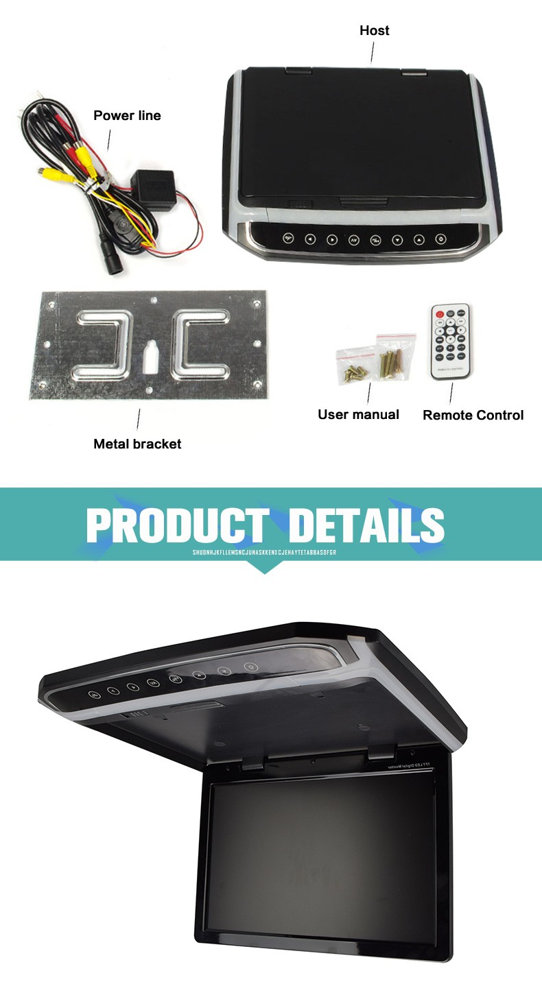 10.2 inch lcd car panel roof mount tv monitor