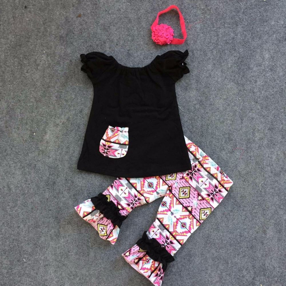 Spring clothing girls clothes black top short sleeves aztec pant baby kids wear with matching headband set