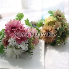 2017 New Arrival SF2017138 Silk Chrysanthemum Hydrangea Bouquet Hydrangea Flowers Bouquet Artificial Flower For Kindergarden