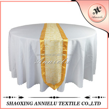 Wholesale yellow sheer organza embroidered wedding table runner