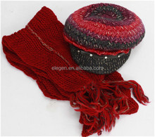 Women Acrylic Fall/Winter Knitted different colors Marching Peaked Cap and Scarf