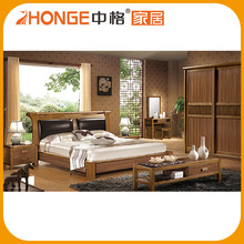 6A001# solid wood bedroom set leather bed-rest bed