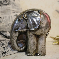 "free shipping 9.8"" silver resin elephant sculpture, elephant statue home decor"