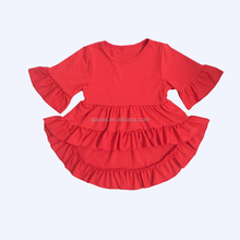 Kids girl party dress frock design pictures clothes solid red dress for children