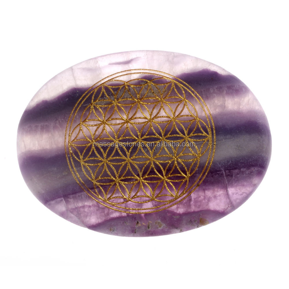 engraved flower of life fluorute semi-precious stone engraved cabochon for wedding gifts