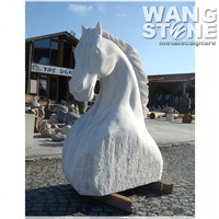 Hand Carved Animal Statue Marble Horse Head Sculpture