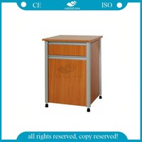 AG-BC017 CE ISO hospital furniture wood frame bedside table with wheels