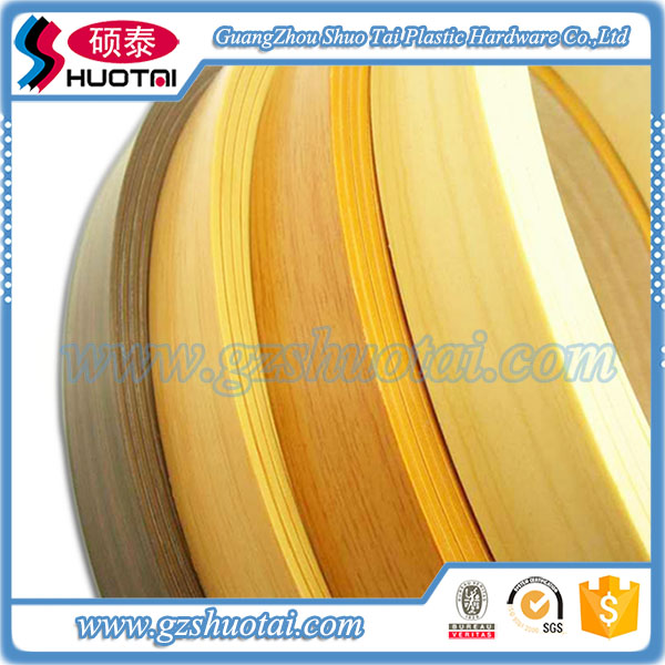 various wood grain and different kinds of pvc plastic wood grain edge strips for home furniture