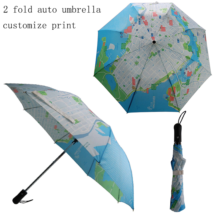 2 folding auto open world map print umbrella