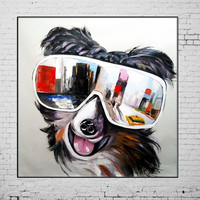 New Hand Painted Paintings Home Goods Oil Painting Cool Dog Animals Wall Picture