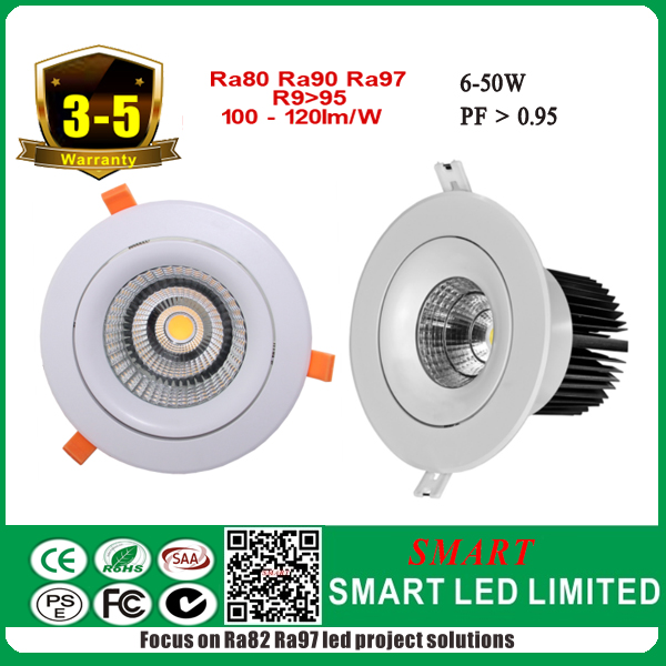 High <strong>Q</strong> 6-50w led cob downlight with ra>80 R9>95 114lm/w recessed down light led