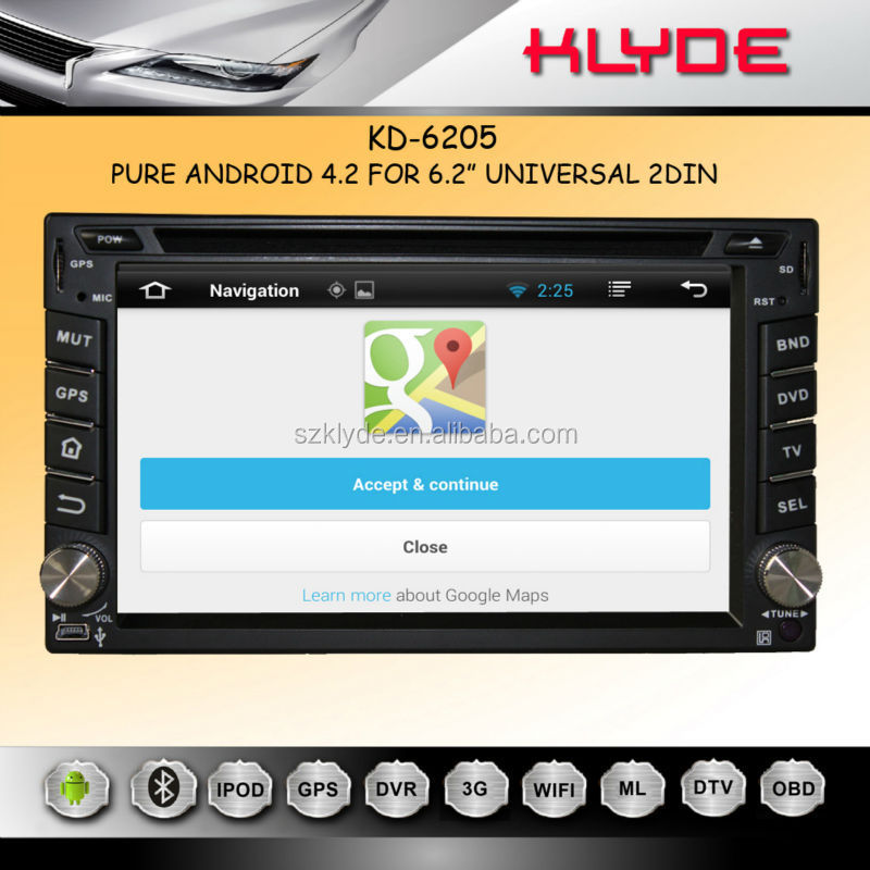 6.2 INCH ANDROID 4.2.2 GPS TV BT Ipod Radio Steering Wheel Control MIRROR LINK DVR Support 2din car dvd player