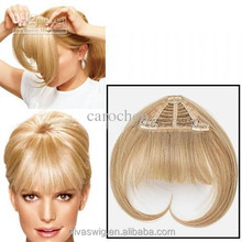 100 human hair Topper Crown Hairpiece With Bangs & Soft Fringe