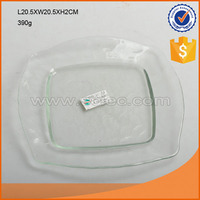 clear glass square shape wide rimmed plate decorative fruit plate