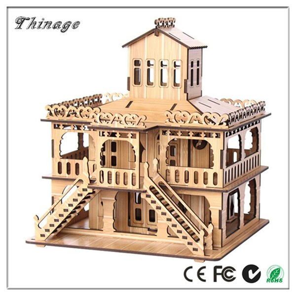 Customize World Famous Building European Villa 3D Wood Puzzle/ adult DIY Puzzle Kids toys