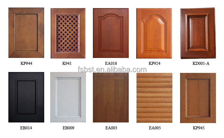 Sk006 wood veneer and pvc kitchen cabinet modern kitchen for Door design and colour