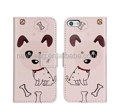 Flip Leather Back Dog Wallet Hard Case Cover WStand For Apple iPhone 5 5S