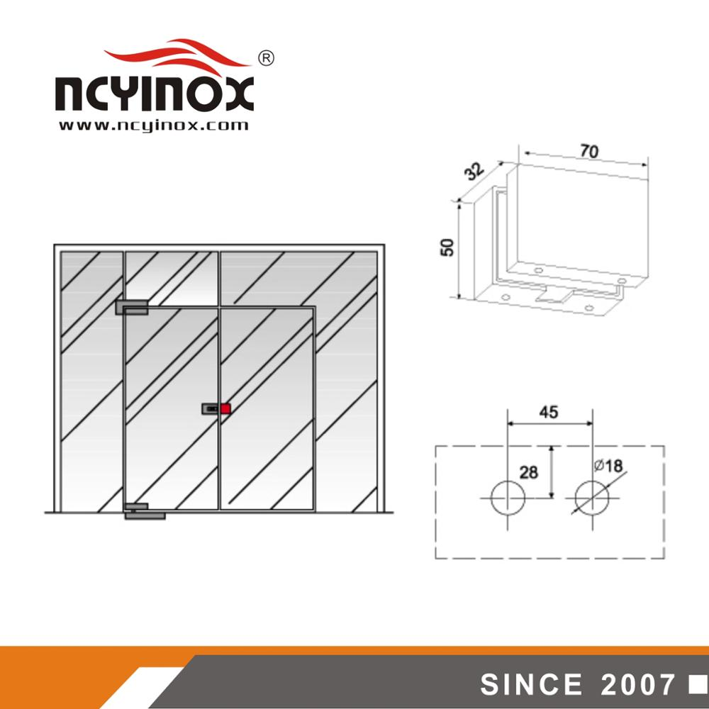 frameless glass door center lock box for swing door