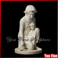 Natural Carving Stone Girl Statue Picking Flowers