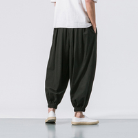 Summer Spring Japan Style Men Cotton Linen Harem Pants In Chinese style