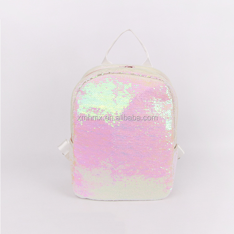 Promotion Reversible Colorful White Girl Backpack Export Sequin Leather Laptop Backpack