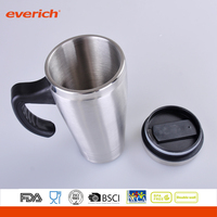 Double Wall Stainless Steel Insulated Travel Mug with PP handle