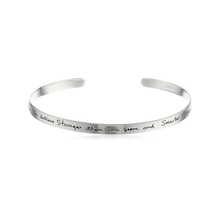 "Sterling Silver Cuff Bracelet with Inspirational Message, ""You are braver than you believe"",7''"