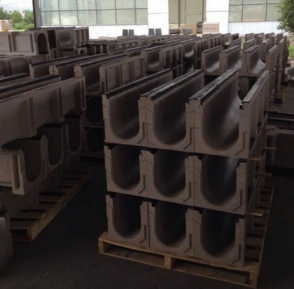 polymer concrete drainage channel with steel grate