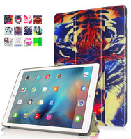 Universal rugged tiger print pu leather cover TV stand tablet case for iPad Pro 9.7