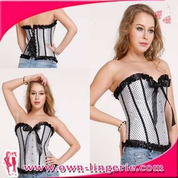 Women's Lace Up Boned Plus Size Overbust Corset