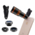 4 in 1 cell phone camera lens kit 12x Telephoto Wide angle Macro Fisheye lens for smartphone