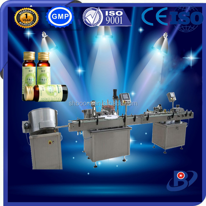 Production line for automatic glass bottle filling capping labeling machine