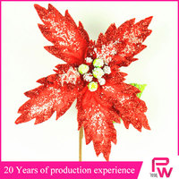 Mainly manufacturer of holiday decoration velvet poinsettia pick Christmas flowers handmade christmas wreaths artificial flower